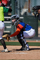 Trace Burchard during the Under Armour All-America Pre-Season Tournament, powered by Baseball Factory, on January 19, 2019 at Fitch Park in Mesa, Arizona.  Trace Burchard is a catcher from Labelle, Florida who attends Labelle High School.  (Mike Janes/Four Seam Images)
