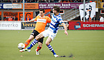 Nederland, Volendam, 31 mei 2015<br /> Playoffs om promotie/degradatie<br /> Seizoen 2014-2015<br /> FC Volendam-De Graafschap<br /> Tom Overtoom (l.) van FC Volendam en Robin Propper strijden in een duel om de bal.
