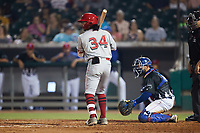 Quincy McAfee (34) of the Chattanooga Lookouts at bat against the Tennessee Smokies at Smokies Stadium on July 31, 2021, in Kodak, Tennessee. (Brian Westerholt/Four Seam Images)