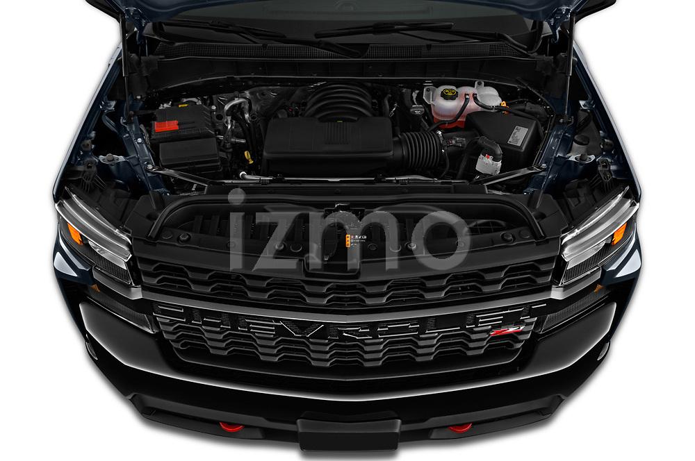 Car stock 2020 Chevrolet Silverado 1500 Custom Trail Boss 4 Door Pick Up engine high angle detail view