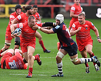 30th September 2020; Ashton Gate Stadium, Bristol, England; Premiership Rugby Union, Bristol Bears versus Leicester Tigers; Joe Heyes of Leicester Tigers hands off Dave Attwood of Bristol Bears