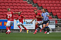 Bristol City's Ashley Williams (left) and Nathan Baker (right) vies for possession with Sheffield Wednesday's Jordon Rhodes<br /> <br /> Photographer David Horton/CameraSport<br /> <br /> The EFL Sky Bet Championship - Bristol City v Sheffield Wednesday - Sunday 28th June 2020 - Ashton Gate Stadium - Bristol <br /> <br /> World Copyright © 2020 CameraSport. All rights reserved. 43 Linden Ave. Countesthorpe. Leicester. England. LE8 5PG - Tel: +44 (0) 116 277 4147 - admin@camerasport.com - www.camerasport.com