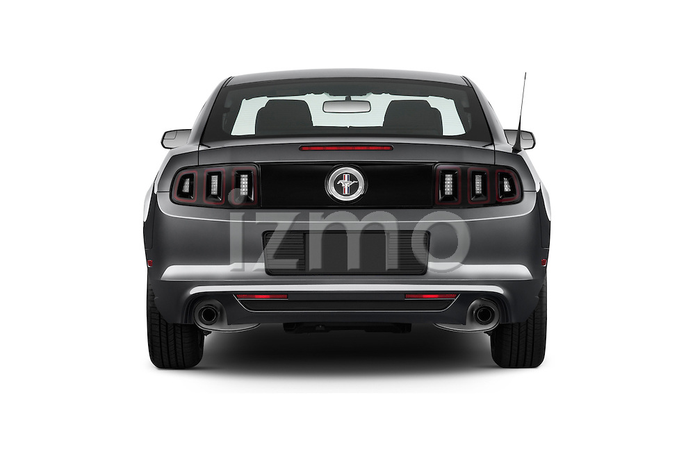 Straight rear view of a 2013 Ford Mustang V6