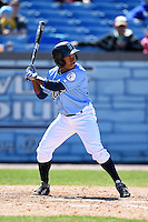Wilmington Blue Rocks outfielder Terrance Gore (9) during a game against the Myrtle Beach Pelicans on April 27, 2014 at Frawley Stadium in Wilmington, Delaware.  Myrtle Beach defeated Wilmington 5-2.  (Mike Janes/Four Seam Images)