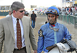 09 May 15: Jockey Rajiv Maragh and trainer Mark Hennig discuss what went wrong after Don't Forget Gil finished last in the grade 3 Black-Eyed Susan Stakes at Pimlico Race Track in Baltimore, Maryland.
