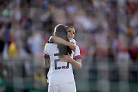 PASADENA, CALIFORNIA - August 03: Christen Press #23 celebrates with Tobin Heath #17Christen Press #23 celebrates  during their international friendly and the USWNT Victory Tour match between Ireland and the United States at the Rose Bowl on August 03, 2019 in Pasadena, CA.