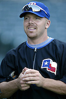 Kevin Mench of the Texas Rangers before a 2002 MLB season game against the Los Angeles Angels at Angel Stadium, in Los Angeles, California. (Larry Goren/Four Seam Images)