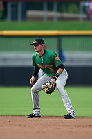 Down East Wood Ducks second baseman Josh Altmann (2) during a Carolina League game against the Fayetteville Woodpeckers on August 13, 2019 at SEGRA Stadium in Fayetteville, North Carolina.  Fayetteville defeated Down East 5-3.  (Mike Janes/Four Seam Images)