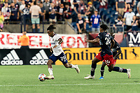 FOXBOROUGH, MA - AUGUST 18: Yordy Reyna #29 of D.C. United dribbles during a game between D.C. United and New England Revolution at Gillette Stadium on August 18, 2021 in Foxborough, Massachusetts.