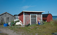 Fishermen's equipment and sheds on Västra Norrskär Island in the Gulf of Bothnia, Finland