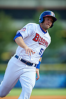 Buffalo Bisons left fielder Michael Saunders (5) running the bases during a game against the Syracuse Chiefs on July 3, 2017 at Coca-Cola Field in Buffalo, New York.  Buffalo defeated Syracuse 6-2.  (Mike Janes/Four Seam Images)
