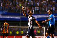 GUAYAQUIL- ECUADOR - 26-08-2014: Fernando Gimenez, jugador de Emelec de Ecuador celebra el segundo gol anotado a Las Aguilas Doradas de Colombia durante partido de vuelta de la primera fase, de la Copa Total Suramericana Emelec de Ecuador, Aguilas Doradas de Colombia en el George Capwell, de la ciudad de Guayaquil. / Fernando Gimenez, player of Emelec of Ecuador, celebrates the second goal scored to Aguilas Doradas of Colombia during a match for the second leg of the first phase, between Emelec of Ecuador and Aguilas Doradas of Colombia of the Copa Total Suramericana in the George Capwell stadium, in Guayaquil city. Photo: API / Photogamma / VizzorImage.