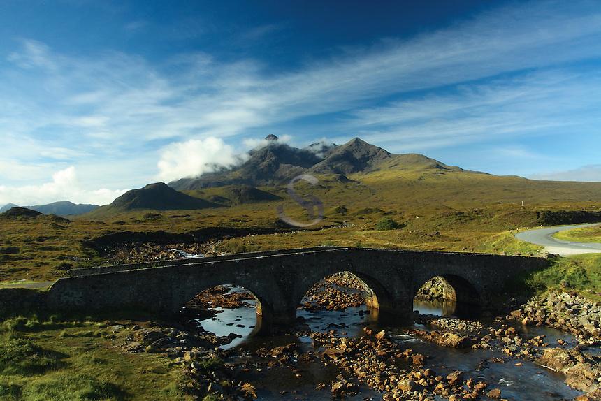 Sgurr nan Gillean, The Black Cuillin, and Sligachan Bridge, Isle of Skye, Inner Hebrides, Highland<br /> <br /> Copyright www.scottishhorizons.co.uk/Keith Fergus 2011 All Rights Reserved