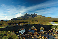Sgurr nan Gillean, The Black Cuillin, and Sligachan Bridge, Isle of Skye, Inner Hebrides, Highland<br /> <br /> Copyright www.scottishhorizons.co.uk/Keith Fergus 2011 All Rights Reserved
