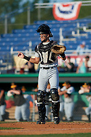 West Virginia Black Bears catcher Ryan Haug (13) during a NY-Penn League game against the Batavia Muckdogs on June 26, 2019 at Dwyer Stadium in Batavia, New York.  Batavia defeated West Virginia 4-2.  (Mike Janes/Four Seam Images)