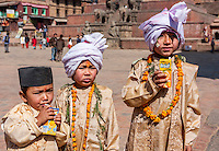 Bhaktapur, Nepal.  Young Boys Dressed for Hindu Religious Ceremony.