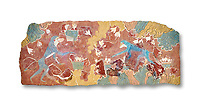 The Minoan 'Saffron Gatherer' wall art fresco, from 'House of Frescoes' Knossos Palace. 1700-1450 BC. Heraklion Archaeological Museum.  White Background. <br /> <br /> The 'Saffron Gatherers' fresco depicts a blue monket gatering saffron crocuses and placing them in a basket. The saffron is thought to have been a gift to the 'Great Goddess'. One of the earliest frescoes from Knossos.