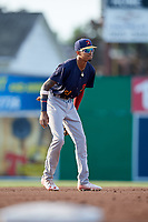 State College Spikes shortstop Delvin Perez (23) during a game against the Batavia Muckdogs on July 9, 2018 at Dwyer Stadium in Batavia, New York.  State College defeated Batavia 3-0.  (Mike Janes/Four Seam Images)