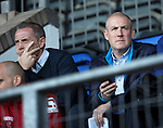 St Johnstone v Rangers...29.09.15   SPFL Development League  McDiarmid Park, Perth<br /> Rangers Manager Mark Warburton watches the game with his assistant Davie Weir<br /> Picture by Graeme Hart.<br /> Copyright Perthshire Picture Agency<br /> Tel: 01738 623350  Mobile: 07990 594431