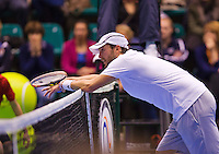 December 20, 2014, Rotterdam, Topsport Centrum, Lotto NK Tennis, Boy Westerhof (NED) is frustratie after a ball is called out<br /> Photo: Tennisimages/Henk Koster