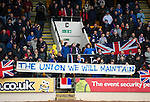 St Johnstone v Rangers...14.01.12  .Rangers fans with a message for Alex Salmond.Picture by Graeme Hart..Copyright Perthshire Picture Agency.Tel: 01738 623350  Mobile: 07990 594431
