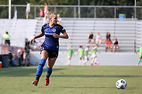 CARY, NC - SEPTEMBER 12: Merritt Mathias #11 of the North Carolina Courage plays the ball during a game between Portland Thorns FC and North Carolina Courage at Sahlen's Stadium at WakeMed Soccer Park on September 12, 2021 in Cary, North Carolina.