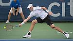 John Isner (USA)  defeats Victor Estrella Burgos (DOM)  6-3, 7-5 at the Citi Open in Washington, DC,  on August 5, 2015.