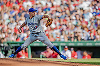 22 June 2019: Toronto Blue Jays pitcher Sam Gaviglio on the mound in the second inning against the Boston Red Sox at Fenway :Park in Boston, MA. The Blue Jays rallied to defeat the Red Sox 8-7 in the 2nd game of their 3-game series. Mandatory Credit: Ed Wolfstein Photo *** RAW (NEF) Image File Available ***