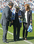 CD Leganes tribute to his oldest supporter, Salustiano Toribio (c), 102 years old, in presence of CD Leganes' President Maria Victoria Pavon (r) and Leganes City Mayor Santiago Llorente during La Liga match. October 15,2016. (ALTERPHOTOS/Acero)