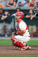 Auburn Doubledays catcher Tres Barrera (15) during a game against the Vermont Lake Monsters on July 12, 2016 at Falcon Park in Auburn, New York.  Auburn defeated Vermont 3-1.  (Mike Janes/Four Seam Images)