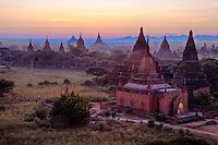 Myanmar, Burma, Bagan.  Temples in Early Morning.