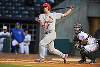 Springfield Cardinals Carson Kelly (5) swings during the game against the Northwest Arkansas Naturals at Arvest Ballpark on May 3, 2016 in Springdale, Arkansas.  Springfield won 5-1.  (Dennis Hubbard/Four Seam Images)