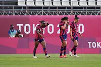 KASHIMA, JAPAN - AUGUST 5: Carli Lloyd #10 of the United States celebrates scoring during a game between Australia and USWNT at Kashima Soccer Stadium on August 5, 2021 in Kashima, Japan.