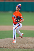 Redshirt freshman Alex Eubanks (16) (Byrnes High School) of the Clemson Tigers pitches in a fall practice intra-squad Orange-Purple scrimmage on Saturday, September 26, 2015, at Doug Kingsmore Stadium in Clemson, South Carolina. (Tom Priddy/Four Seam Images)