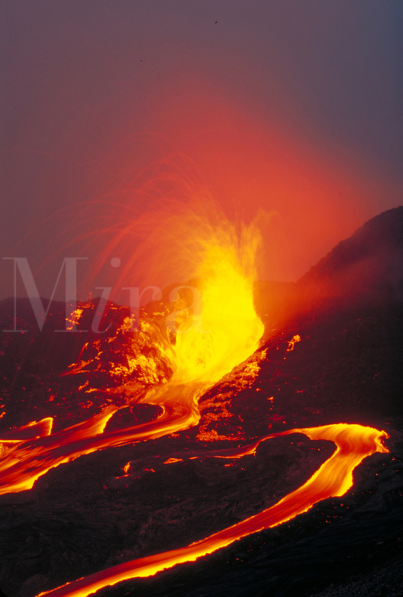 Kilauea Volcano - lava exploding from splatter cone outside of Pu'u o'o vent. Hawaii, Volcanoes National Park.