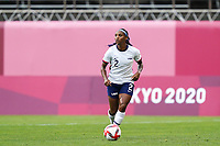 KASHIMA, JAPAN - AUGUST 2: Crystal Dunn #2 of the United States controls the ball during a game between Canada and USWNT at Kashima Soccer Stadium on August 2, 2021 in Kashima, Japan.
