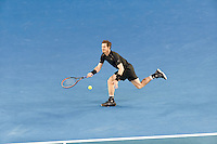 January 31, 2016: Andy Murray of United Kingdom in action in the Men's Final against Novak Djokovic of Serbia on day fourteen of the 2016 Australian Open Grand Slam tennis tournament at Melbourne Park in Melbourne, Australia. Photo Sydney Low