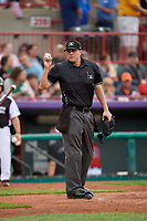 Umpire Mike Rains during an Eastern League game between the Portland Sea Dogs and Erie SeaWolves on June 17, 2019 at UPMC Park in Erie, Pennsylvania.  Portland defeated Erie 6-3.  (Mike Janes/Four Seam Images)