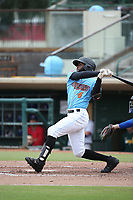 Torii Hunter jr. (4) of the Inland Empire 66ers bats against the Stockton Ports at San Manuel Stadium on May 26, 2019 in San Bernardino, California. (Larry Goren/Four Seam Images)