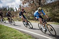 GC leader Wout van Aert (BEL/Jumbo-Visma) followed closely by TT World Champion Filippo Ganna (ITA/INEOS Grenadiers) & Egan Bernal (COL/Ineos Grenadiers)<br /> <br /> Stage 4 from Terni to Prati di Tivo (148km)<br /> <br /> 56th Tirreno-Adriatico 2021 (2.UWT) <br /> <br /> ©kramon