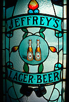 .Stained-glass panel in pub (bar) doorway, Edinburgh, Scotland...