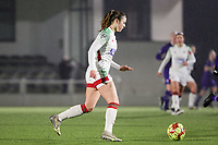 Auke Swevers(4) of OHL with the ball during a female soccer game between Oud Heverlee Leuven and RSC Anderlecht on the 12 th matchday of the 2020 - 2021 season of Belgian Womens Super League , sunday 31 st of January 2021  in Heverlee , Belgium . PHOTO SPORTPIX.BE | SPP | SEVIL OKTEM