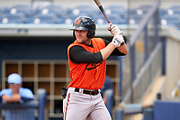 FCL Orioles Orange Colton Cowser (44) bats during a game against the FCL Rays on August 2, 2021 at Charlotte Sports Park in Port Charlotte, Florida.  (Mike Janes/Four Seam Images)