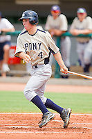 Alex Bregman #4 of PONY follows through on his swing against Babe Ruth at the 2011 Tournament of Stars at the USA Baseball National Training Center on June 25, 2011 in Cary, North Carolina.  Babe Ruth defeated PONY by the score of 10-9. (Brian Westerholt/Four Seam Images)