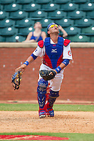 Chattanooga Lookouts catcher J.C. Boscan (15) tracks a pop fly during the game against the Montgomery Biscuits at AT&T Field on July 23, 2014 in Chattanooga, Tennessee.  The Lookouts defeated the Biscuits 6-5. (Brian Westerholt/Four Seam Images)