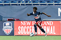 FOXBOROUGH, MA - AUGUST 7: Meny Silva #36 of New England Revolution II dribbles down the wing during a game between Orlando City B and New England Revolution II at Gillette Stadium on August 7, 2020 in Foxborough, Massachusetts.