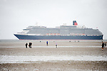 Cunard Line's Three Queens Meeting Liverpool. <br /> Crosby Beach 25.5.15.  QueenVictoria viewed from Crosby Beach on her  way into Liverpool.