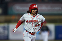 Quincy McAfee (34) of the Chattanooga Lookouts rounds the bases after hitting a home run against the Tennessee Smokies at Smokies Stadium on July 31, 2021, in Kodak, Tennessee. (Brian Westerholt/Four Seam Images)