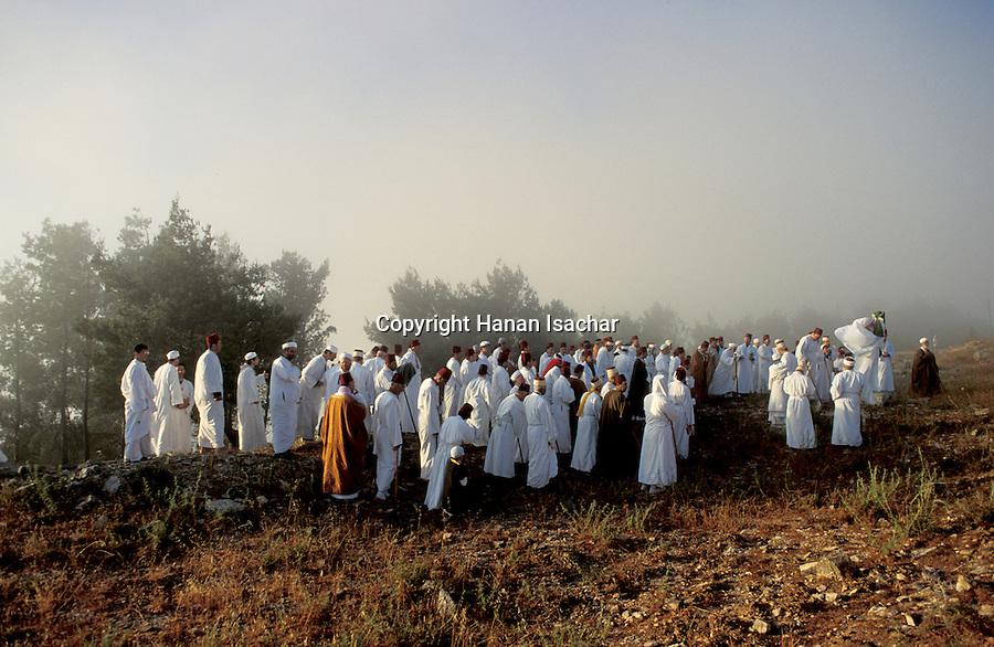 Samaria, Samaritan pilgrimage To Mount Gerizim done on Passover, Shavuot and Succot holidays, raising the Torah scrolls<br />