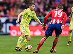 Francisco Portillo Soler (L) of Getafe CF fights for the ball with Lucas Hernandez of Atletico de Madrid during the La Liga 2017-18 match between Atletico de Madrid and Getafe CF at Wanda Metropolitano on January 06 2018 in Madrid, Spain. Photo by Diego Gonzalez / Power Sport Images
